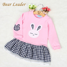Bear Leader Girls Dress Sweet Princess Dresses 2016 Girls Clothes Long-sleeve Rabbit Embroidery Plaid Dress Children Clothing(China)