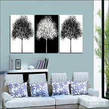 3 Pcs Canvas Art Set For Modern Home Wall Decor Decorative Pictures Black And White Tree Art Painting Cheap Modern Paintings