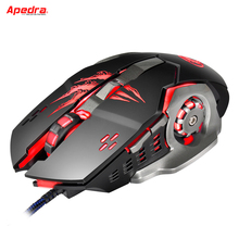 Apedra A8 New Wired Gaming Mouse Professional Macro Program Gamer 6 Buttons USB Optical Computer Game Mice For PC Laptop Desktop(China)