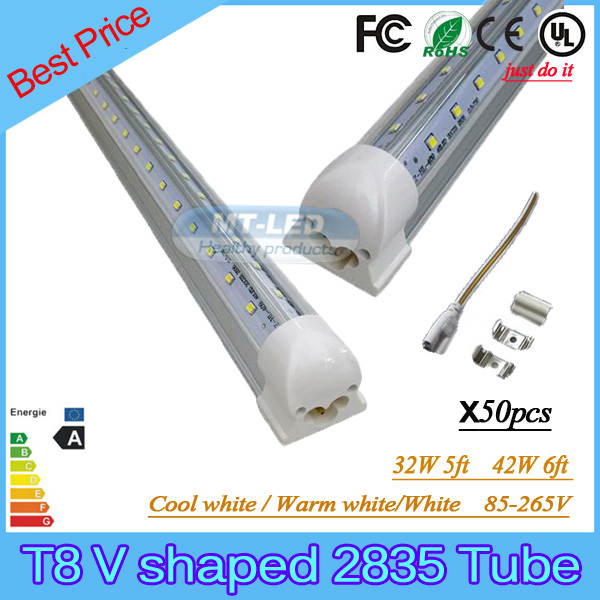 50PCS SMD 2835 T8 V shaped Integrated LED tube light fluorescent lamp 32W=5ft 42W=6ft 85-265V led tubes warranty 3 years<br><br>Aliexpress