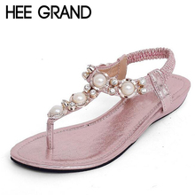HEE GRAND Summer Sandals Women Fashion Beading PU Leather Platform Wedges Sandals Female Shoes Woman 4 Colors Size 35-40 XWZ1342