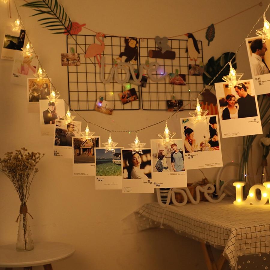 LED Star Garland String Lights 1.5M 3M 6M LED Card Photo Clip Light Wedding Party Christmas DIY Decoration 3