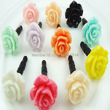 1000pcs Wholesale Rose Lovely Anti Dust Plug for Iphone, Dust Cap for 3.5mm Earphone Jack mobile phone free shipping