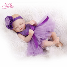 Buy NPK 10inch miniature preemie baby doll soft silicone vinyl real touch beautiful purple dress