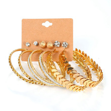 6 Pair/lot Fashion Silver Gold Color Big Circle & Stud Earrings Set for Women Girls Large Steel Aros Jewelry #242775