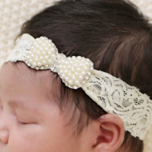1 PC Girls Newborn Lace Pearl Mini Bow Headband Lace Hairband With Hair Bow Kids Boutique Hair Accessories