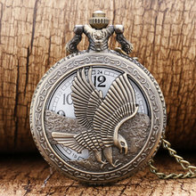 Vintage Jewelry Antique Hollow bronze Eagle Carving Engraved pocket watch necklace pendant gift for men and women