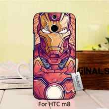 Cute Black Phone Accessories For HTC One m8 case  For marvel ironman Design cool man