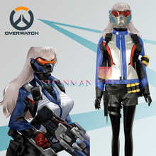 OW Over and Watch Soldier:76 PU Leather Cosplay Costume Female Version Jacket Shorts Gloves Full Outfit Custom for Adult