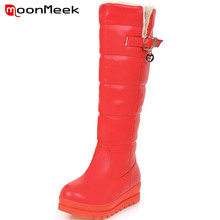 MoonMeek 2017 Big size 43 knee high boots women platform shoes snow boots winter warm buckle solid long boots(China)