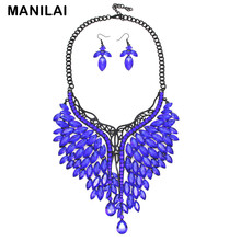 Unique Design Rhinestone Crystal Charm Necklaces Earrings Wedding Jewelry For Women Accessories Bride Jewelry Sets CE3997
