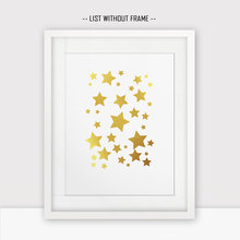 Gold Star Gold Foil Wall Print Star Wall Hanging Print Wall Art Painting Golden Star Wall Poster No Frame W60(China)
