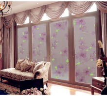 Noglue static glass film frosted translucent glass door living room bathroom window sticker printing plum blossom design windows(China)