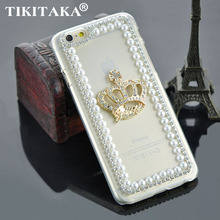 Rhinestone Crown pure pearl bling back cover fashion clear transparent luxury phone case for iphone 5 5S SE 6 6S / Plus 6plus