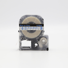 5 pcs compatible ST6BW for kingjim wholesale 6mm blue on clear label cassete tape made in china