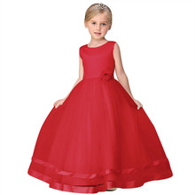 Red Party Dress For Girls Kids Wedding Birthday Wear Long Tulle Children Little Bridesmaid Girls Clothes For Teenager 10 Years