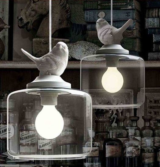 Vintage bird pendant light Glass Pendant Lights Contemporary Creative Retro Art Glass Cafe Restaurant Study lamps<br>