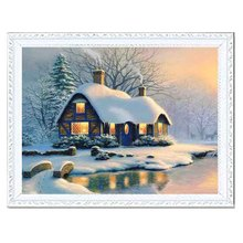 Needlework Resin Square DIY 5D Diamond Painting Cross Stitch Kits Full Embroidery Riverside Cottage Winter Pattern