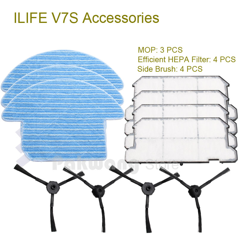 Original Accessories of ILIFE V7S Robot vacuum cleaner, including Side brush 4 pcs Mop 3 pcs and Efficient HEPA Filter 4 pcs<br><br>Aliexpress