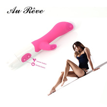 AuReve Hot Sale Dual-Action Rabbit Vibrator For Intense Simultaneous Clitoral & G-Spot Massage Sex Toys For Women Free Shipping