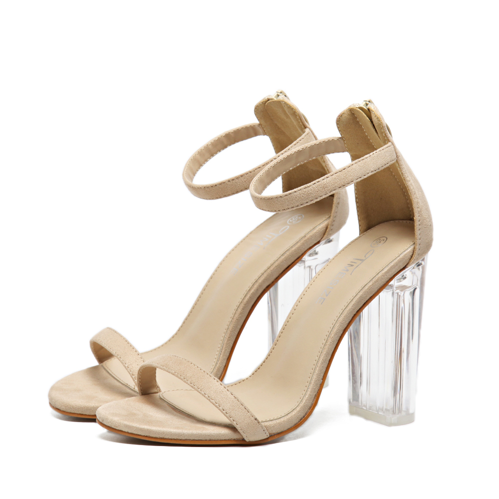 zapatos mujer women gladiator sandals open toe crystal clear transparent square high heels summer woman ankle strap pumps shoes <br><br>Aliexpress