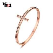 Vnox Sideways Cross Faith Christian Bracelets & Bangles Rose Gold-color Cross Bracelets for Women with CZ Stone