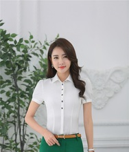 Summer Chiffon Blouse & Shirts Female Tops Clothes Business Women Professional Formal OL Styles Ladies Blusas Blouses