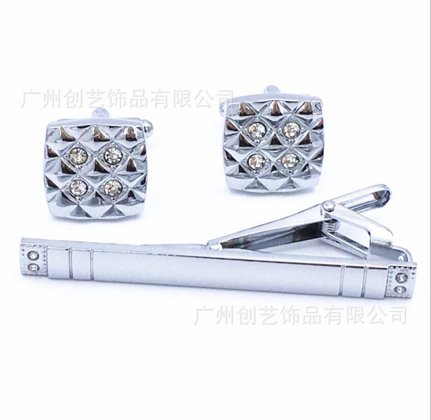 WholeSale 10sets/lot Luxury Square Crystal Silver Cufflinks  Tie Clip Men's Jewelry Cuff links Tie Clip Sets Wedding Party Gift