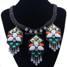 New Fashion Rope Knit chain with Multi color Pendants Choker Statement Necklace for Women