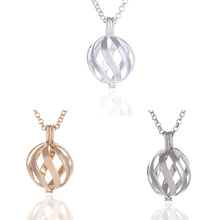 Fashion Angel Necklace Chime Music Ball 3 Color Pierced Spiral Charms Pendant Necklace For Women Jewelry(China)