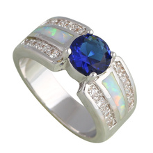 Popular design Royal Blue Zirconia White fire Opal Fashion jewelry Silver Stamped Crystal Rings USA size #6#7#7.5#8#8.5#9 OR721A - Jos fan's store