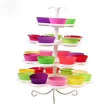 Party Decoration Best Performance 4 Tier 13 Cupcakes Cake Display Stand Pure Plastic Cake Swing Sets M1437(China)