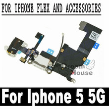 High Quality Black / White USB Charger Dock Connector Plug Flex Cable With Headphone Jack For Iphone 5 5G Replacement Power Port(China)