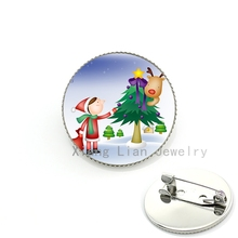 Little girls Christmas brooches costume jewelry Cute Children Christmas Tree Deer brooch pins badge kids New Year gifts CM156(China)