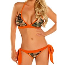 2017 New Beach Sexy Bikini Set Lace Camouflage Swimsuit Swimwear Women orange hot pink Camouflage BIKINI set(China)
