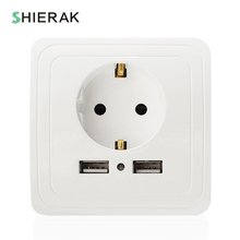 SHIERAK Wall Socket With Dual USB Port 5V 2A Charger for Mobile Phone European Plug Adapter Electrical Outlet Charging Station(China)