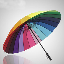Fashion Women parasol Rainbow Umbrella Big Long Handle Straight Colorful Umbrella Female Sunny And Rainy Umbrella 24k Ribs(China)