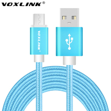VOXLINK 2M Micro USB Cables Metal Braided Cord Data Sync Wire Charger universal charging cable Android Samsung Xiaomi HTC