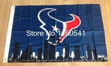 Houston Texans with Houston City Skyline Flag 3ft x 5ft Polyester NFL Houston Texans Banner Flying Size No.4(China)