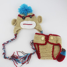 2016 Newborn Baby Props Boys Crochet Knit Hat + Diaper Costume Aminal Monkey Design Baby Photo Photography Prop(China)