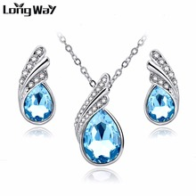 LongWay 2017 Fashion Jewelry Sets Silver Color Rhinestone Jewelry Sets Blue Crystal Necklace Earrings Set For Women SET150037