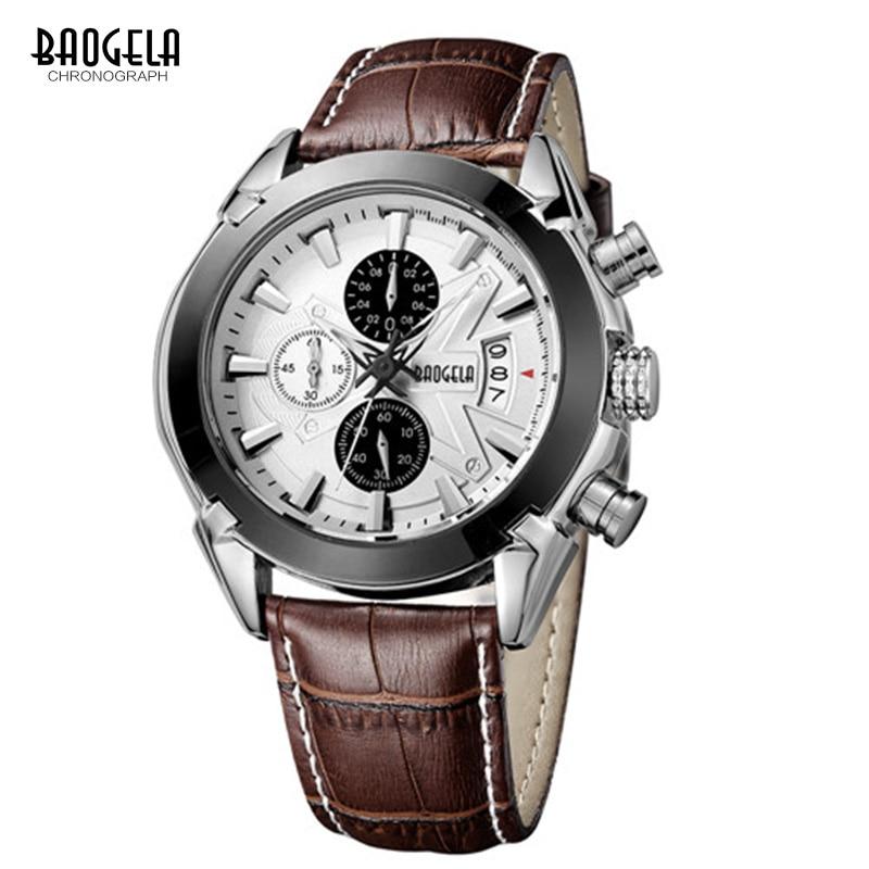 BAOGELA Chronograph Luminous Mens Watches Top Brand Luxury Quartz Wrist Watch Leather Strap Round Dial Wristwatch For Man 1602 <br>