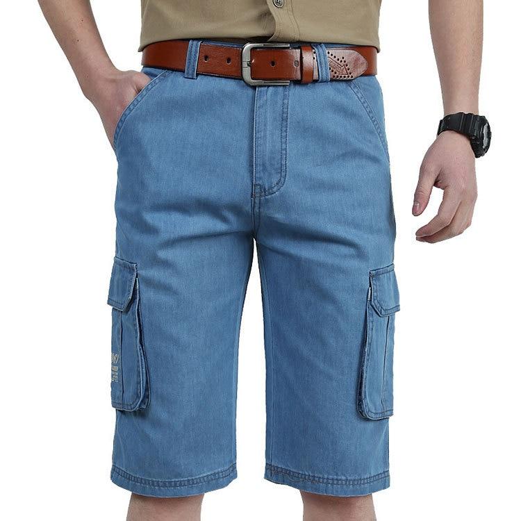 2017 Summer Brand CLOTHES Cargo Short Jeans MenS Short Cotton Knees Pants Fashion Summer Shorts Fashion Denim Jeans Size:30-42Îäåæäà è àêñåññóàðû<br><br>
