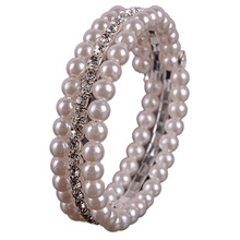 Fahsion 2 Rows Imitation Pearl Rhinestone Bangle Bracelets For Women Cuff Bracelets Charm Wedding Jewelry Gift pulseiras(China)