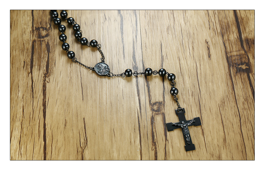 Meaeguet 76cm Chain Black Stainless Steel Bead Chain Rosary Jesus Christ Cross Pendant Long Charm Necklace For Men (4)