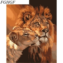 FGHGF No Frame Pictures DIY Lion Painting By Numbers Hand Painted Oil On Canvas Cartoon Home