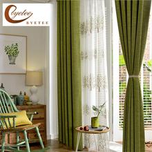 byetee Modern Faux Cotton Linen Green Window Curtains for Living Room Quality Bedroom Curtain Door Curtain for Kitchen(China)
