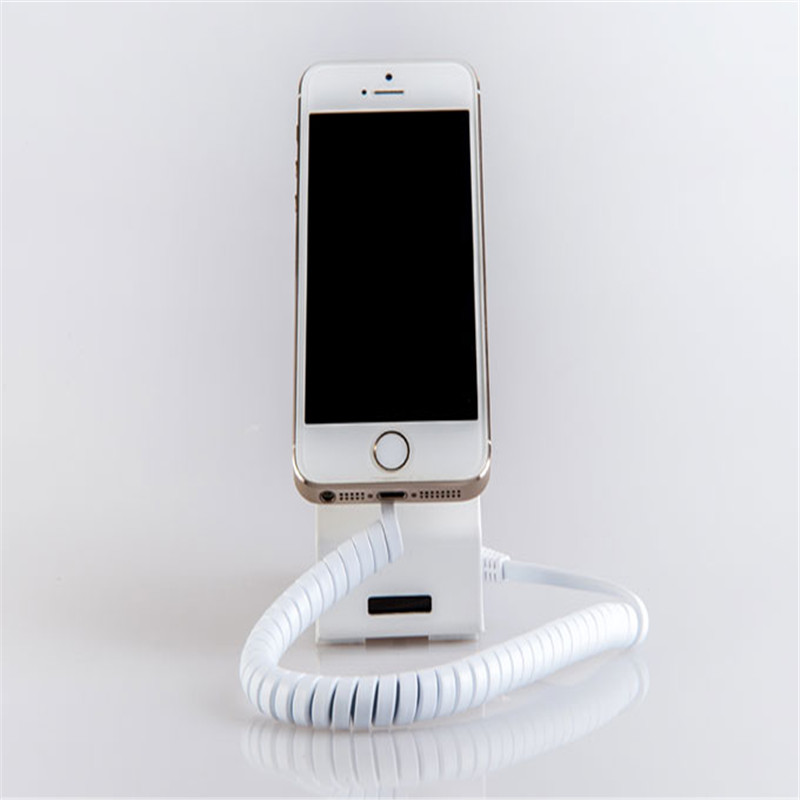 10 set/pack L-shaped metal white anti shoplifting charging device for iphone android phone<br>