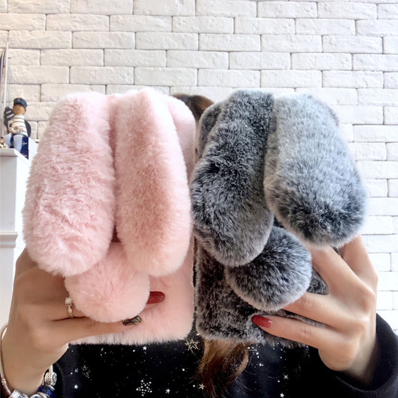 Rabbit Fur Case For Samsung Galaxy A6 A8 2018 Note 8 9 S8 S9 Plus S6 S7 Edge J3 J5 J7 2017 Luxury Warm Cute Hairy Cover Carcasas