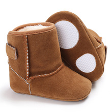 2017 Winter suede leather Baby Boy Girls Shoes Newborn Baby Snow Boots Soft Warm Kids Toddler First Walking shoes 0-18M(China)